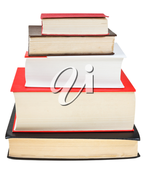 stack different sizes books isolated on white background