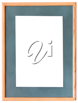 narrow wooden picture frame with green mat with cutout canvas isolated on white background