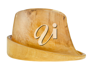 side view of linden wooden hat block isolated on white background