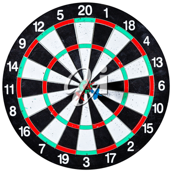 dart board with three arrows isolated on white background