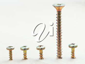 different height screws wrapped in wooden plank close up