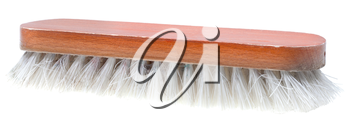 old wooden clothes brush isolated on white background