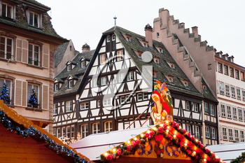 Christmas market in medieval european town