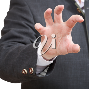 businessman shows attacking palm close up - hand gesture isolated on white background