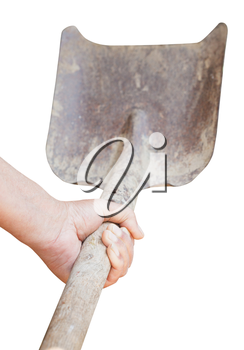 worker hand holds old shovel isolated on white background