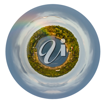 little planet - spherical view of Baltic sea coastline with rainbow in rain during sunshine isolated on white background