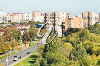 view of urban street in sunny autumn day, Moscow