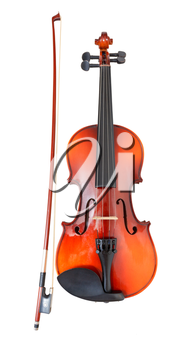 classical wooden violin with french bow isolated on white background