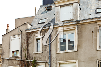 facade of old urban houses on street in Angers city, France