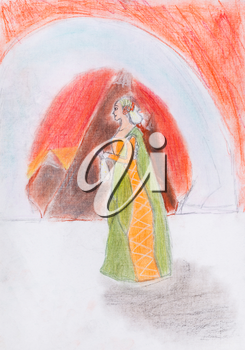 child's drawing - the queen on background of red mountains
