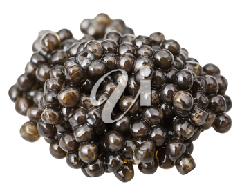 above view of handful black sturgeon caviar isolated on white background