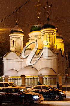 Church of the Trinity in Leaves on Sretenka street under snow in Moscow in winter night