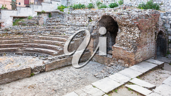 travel to Italy - ancient roman Odeon theater in Taormina city in Sicily