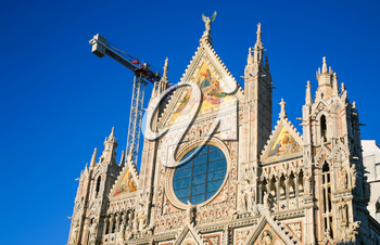 travel to Italy - facade of Siena cathedral (Duomo di Siena) in sunny winter day