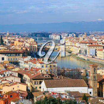 travel to Italy - above view Arno River in Florence town from Piazzale Michelangelo in sunny winter day