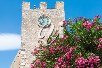 travel to Sicily, Italy - oleander tree and medieval clock tower (Torre dell Orologio) at Piazza IX Aprile in Taormina city in summer day