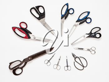 above view of circle from various shears on white background