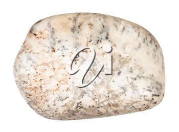 macro shooting of natural mineral rock specimen - pebble of Albite stone isolated on white background from Lovozero Massif, Karelia, Russia