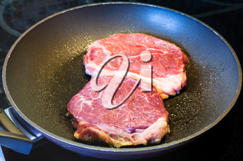 frying two piece of meat in pan on ceramic electric range at home kitchen