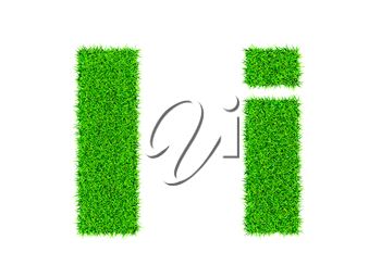 Grass letter I - ecology eco friendly concept character type