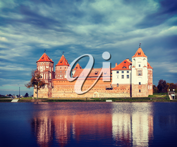 Vintage retro effect filtered hipster style travel image of medieval Mir castle famous landmark in town Mir, Belarus