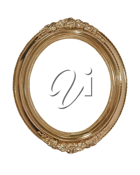 Golden oval photo frame isolated on white background.