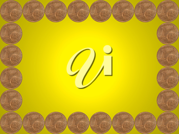 Frame made from one euro cent coins on yellow background.