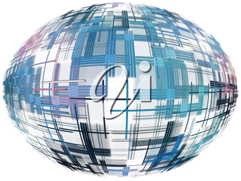 Azure abstract globe shape with checkered pattern on white background.Digitally generated image.