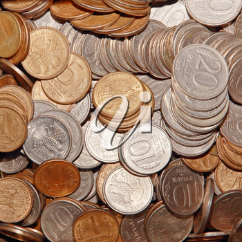 Ruble coins taken closeup suitable as background.