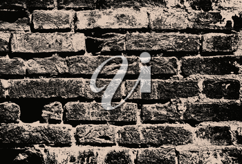 Monochrome grunge brick wall as abstract background.Digitally generated image.