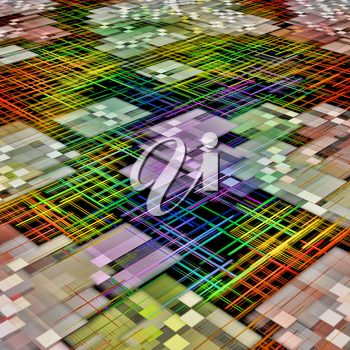 Multicolored grid and cube shape pattern as abstract background.Digitally generated image.