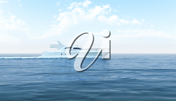 White yacht floating in the sea