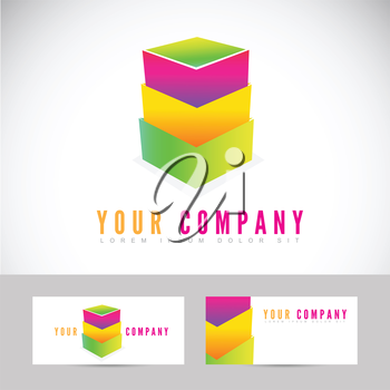Vector template logo of stacked boxes with business card