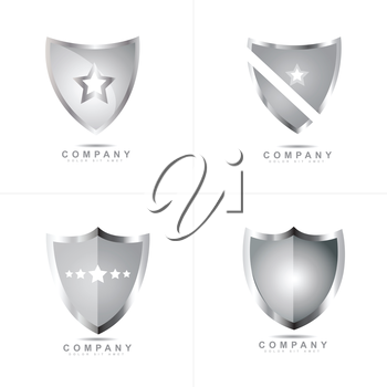Silver metallic shield logo vector design set