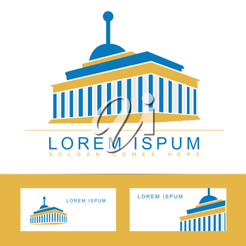 Logo icon vector of a university or library building with business card template