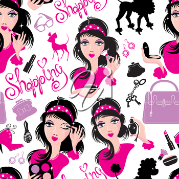 Seamless pattern for fashion Design, glamor lovely girls using different tools to apply make-up and accessories.