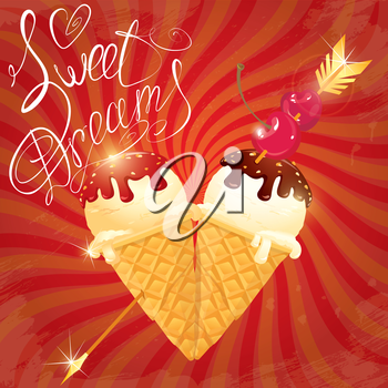 Vanilla Ice cream cones with Chocolate and strawberry glaze in heart shape with arrow and cherry on retro striped red background. Calligraphic text Sweet Dreams.