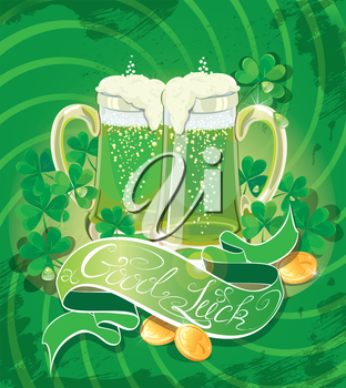 Holiday card with calligraphic words Good Luck and Beer mugs, Shamrock, golden coin on green background