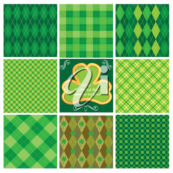 Set of green seamless patterns for St. Patrick's Day