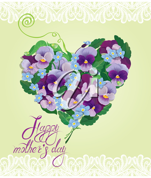 Heart shape is made of beautiful flowers - pansy and forget-me-not - floral background. Calligraphic text - Happy Mothers Day.
