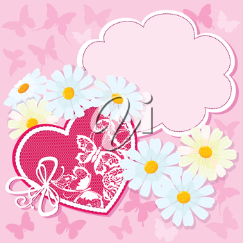 Heart and daisies on a pink background with butterflies. valentine card