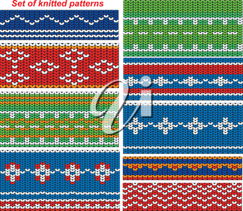 Set of 9 knitted ornamental seamless patterns.
