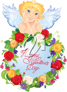 Valentine`s Day illustration with roses flowers round frame and angel. Calligraphic text Happy Valentine`s Day