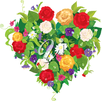 Heart shape is made of beautiful flowers - roses, pansies, bell flowers isolated on white background. Valentines Day card.
