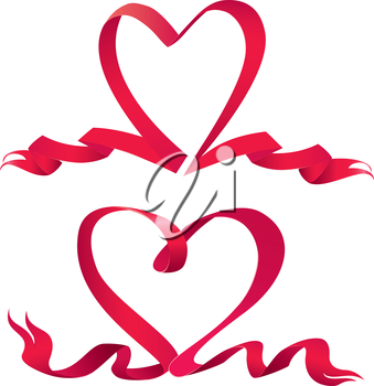 Set of two Red ribbons are made in heart shape.