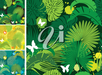 Set of seamless patterns with palm trees leaves and butterflies. Ready to use as swatch.
