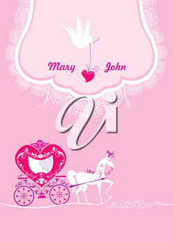 Pink Greeting Card with a lace ornament. Floral Background with white dove, horse and carriage. Invitation - hand drawn text.