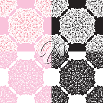 Set of squared backgrounds - ornamental seamless pattern. Design for bandanna, carpet, shawl, pillow or cushion.