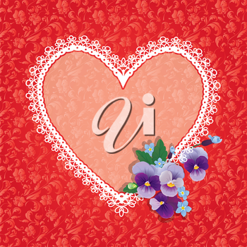 Card with Heart shape is made of lace doily and pansy folwers on red ornomental floral background, element for Valentines Day or Birthday design.