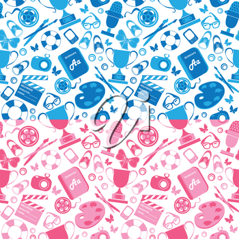 Set of seamless patterns in pink and blue colors with childrens hobby, school things.